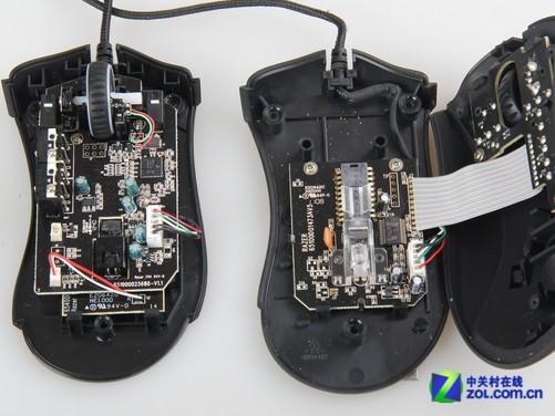 雷蛇炼狱蝰蛇2013版游戏鼠标主要元件全部集中固定于鼠标底盘上,相比于炼狱蝰蛇鼠标将为照顾侧键位置,为鼠标微动及滚轮编码器单独制作一块电路板,并向上固定在鼠标上盖上的方式来说,更为简洁直观。当然这并不意味着雷蛇炼狱蝰蛇2013版游戏鼠标做工缩水,相反由于内部结构的改变,雷蛇在炼狱蝰蛇2013版模具设计上也做出了巨大的调整,使其可以在结构强度和使用手感方面完全不逊于炼狱蝰蛇游戏鼠标。