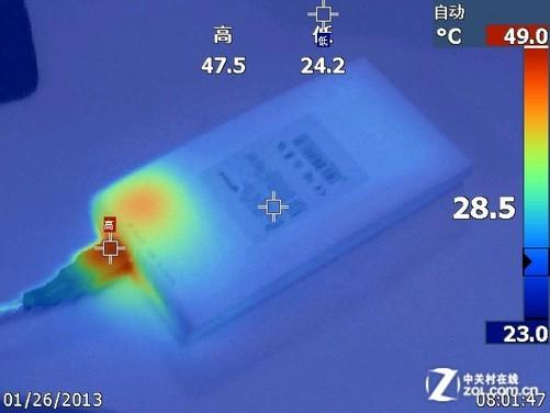 中发热部位都集中在顶端靠近接口部分,从而能推断内部是主要的电路板