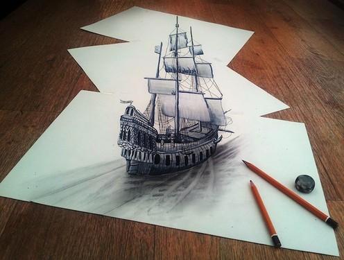 善于用铅笔,水彩,丙烯酸树脂和油在纸片上绘制出栩栩如生的3d立体画.图片