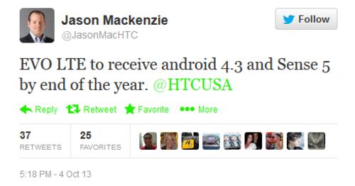 服务老用户 HTC EVO 4G LTE将升安卓4.3