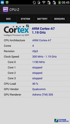酷派S6 CPU-Z检测截图