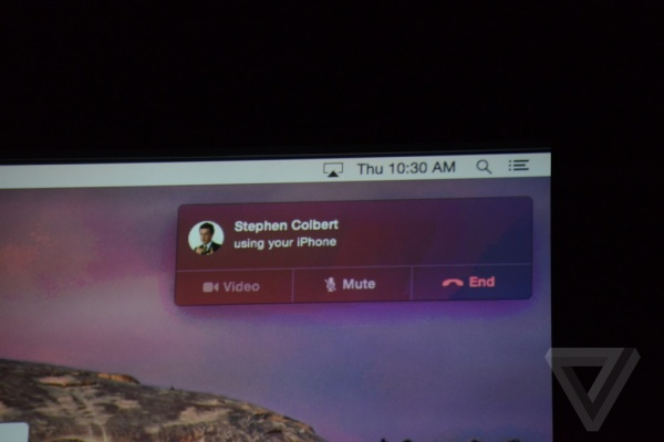 OS X Yosemite可以接听iPhone上的来电