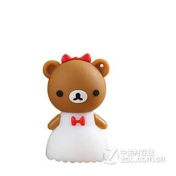 8g情侣婚纱小熊16g新款u盘卡通优盘 迷你创意可爱礼品 白色