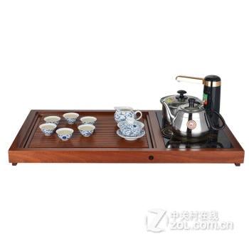 金灶茶具 v518古花木实木茶盘电磁炉泡茶机功夫茶具套装功夫茶