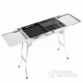 尚烤佳户外多功能大号不锈钢烧烤炉可折叠便携式木炭烧烤架带调料板带图片