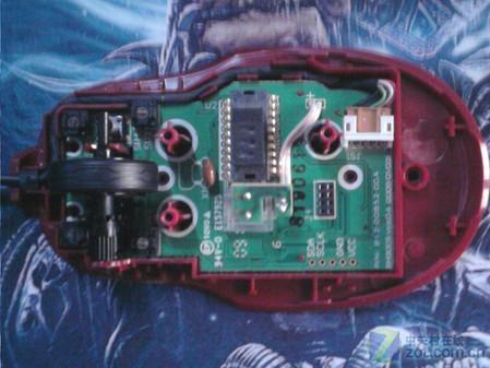 取下微软x3鼠标顶电路板后,就是主pcb板,微动,激光传感器等都