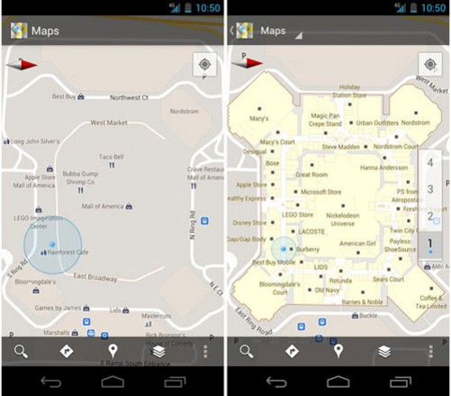 Google Maps 6.0现在用户已经可以在Andriod Market进行下载,新版Google Maps增加了室内导航功能。通过它,用户不仅可以找到距离自己最近的洗手间,服装店,还可以搜到电梯,自动取款机等公共设施,和之前在室外使用Google Maps一样,用户只需要在地图上点击我的位置,通过GPS和GPRS辅助定位功能,Google Maps就会自动搜索用户现在所处的位置。