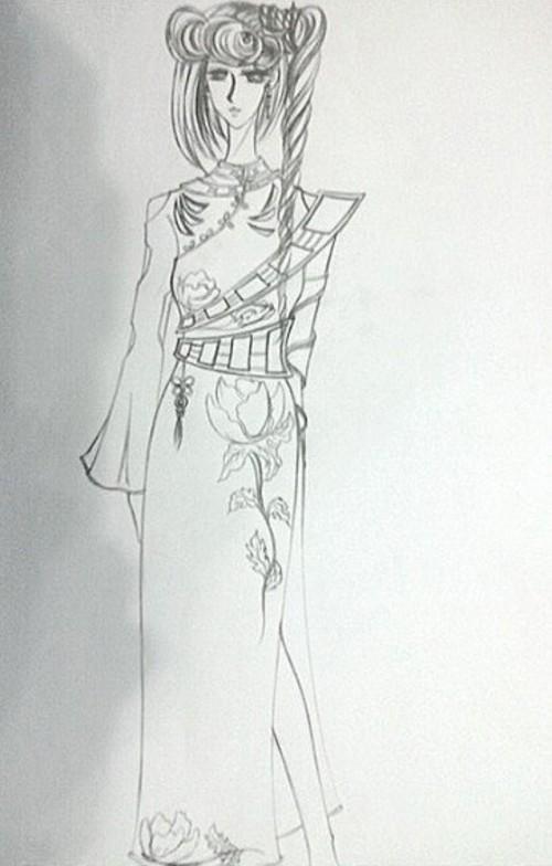 画旗袍简笔的步骤