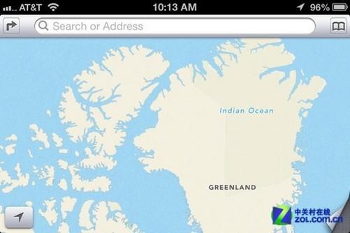 苹果地图中的错误包括,将格陵兰岛标为印度洋,将印度洋标为北冰洋,将