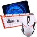 剑圣一族 背光有线键鼠套装 有线发光键盘鼠标套装 夜光游戏USB牧马人风格背光键鼠套装 白剑圣L1+橙白超薄罗